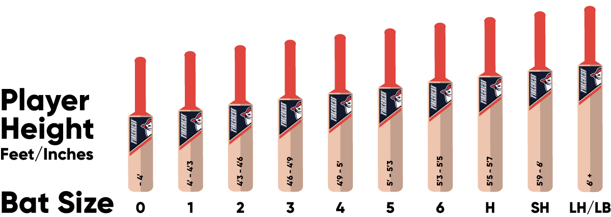 A size guide for cricket bats